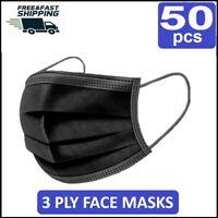 50 X BLACK DISPOSABLE FACE MASKS