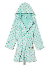 NWT Victoria's Secret PINK Plush Robe XS / S  Supersoft Bathrobe Mint Polka Dot