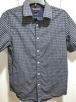 Michael Kors Mens Cotton Button Down Dress Shirt Size M Tailored Fit Navy White