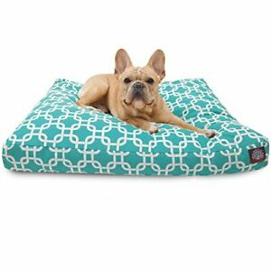Teal Links Small Rectangle Indoor Outdoor Pet Dog Bed With Removable Washable...