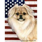 Patriotic (D2) Garden Flag - Cream Sable Tibetan Spaniel 324751