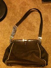 Gianfranco Ferre Brown Leather Handbag with Chain Strap Medium Authentic Rare