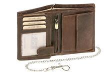 Geldbörse Portmonee Portemonnaie mit Chrom Kette LEAS MCL Vintage Leder braun