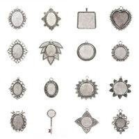 10PCS Tibetan Style Alloy Pendant Cabochon Settings Tray Blanks Antique Silver