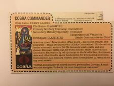 New listing Gi Joe 80s Cobra Commander Enemy Leader cardback file card vintage 1984