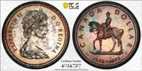 SP65 1973 $1 Canada Silver RCMP Commemorative Dollar, PCGS Secure- Rainbow Toned
