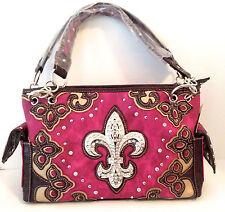 Concealed Carry Gun Handbag Case Rhinestone Women Fleur De Lis Purse