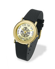 Adi Judaica Watch Israeli Hebrew Famous bible quotes w/ Symbols Gold & Leather