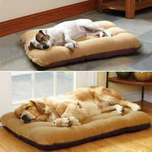 Large Dog Sleep Beds Soft Fleece Cushion with Bed Cover Pet Crate Sofa Mattress