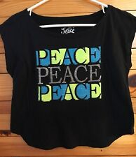 "Justice Girls Black Sequin Sparkle ""Peace"" Top Shirt Size 8"