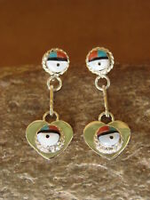 Native American Indian Jewelry Turquoise Inlay Sunface Heart Earrings! Zuni