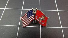 "NEW Lapel Pin ""USMC-USA / USMC FLAG"" ENAMELED LIFETIME GUARANTEE MARINE CORPS"