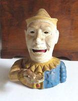 Vintage Cast Iron Humpty Dumpty Clown/Jester Working Mechanical Bank