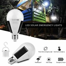Waterproof LED Solar Light Bulb 7W E27 F Tent Camping Hanging Round Rechargeable
