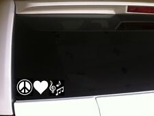 "Peace Love Music vinyl window sticker car decal 7"" *C25* band notes hippy sign"
