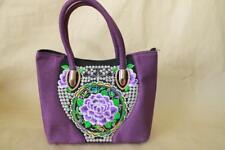 Genuine Embroidered Vintage Tribal BOHO handbag tote bag shoulder bag PURPLE