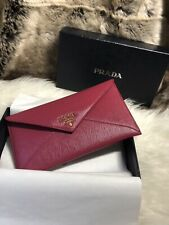 NWT AUTHENTIC Prada Envelop Wallet in Ibisco Pink Scratch Resistant Leather