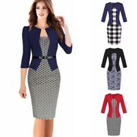 Women Bodycon Dress Office Sheath Pencil Belt Formal Work Party Business Elegant