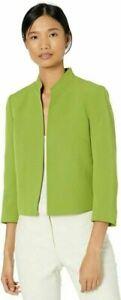 Kasper Women's Stand Collar Stetch Crepe Jacket  12P, Avocado