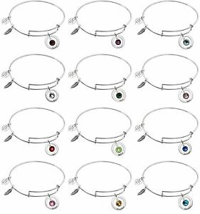 925 Sterling Silver 12 Months Birthstone Crystal Charm Adjustable Wire Bangle