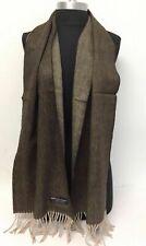Men 100% Cashmere Scarf Herring Bone Tweed Brown / Beige Scotland Soft Wool Wrap