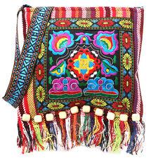 Fashion Hmong Vintage Ethnic Shoulder Bag Embroidery Boho Hippie Tassel Tote Bag