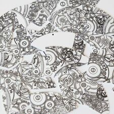 """Fishscale Fin Sequin 1.5"""" Steampunk Clockworks on White Opaque Couture Paillette"""