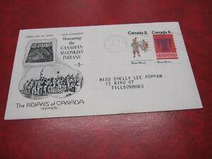 CANADA Unitrade# 568-9 8c FDC ALGONKIAN INDIANS TILLSONBURG,ONT.28 XI 1973