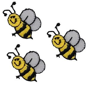 """Honey Bee Applique Patch - Bumblebee, Insect, Bug Badge 1"""" (3-Pack, Iron on)"""
