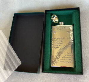 Rare Vintage St. Andrews Golf Course Pewter Flask - Course Layout and Card
