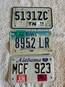 Set 3 Alabama Iowa Tennessee Motorcycle Genuine Pre-Owned USA License Plates