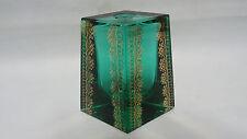 "Art Deco Bohemian Crystal Vase Green Art Desig Solid glass Gold Decoration  3,6"""