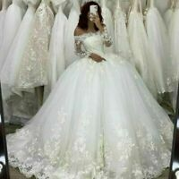 Off Shoulder Wedding Dresses Lace Appliques Long Sleeves Princess Bridal Gowns