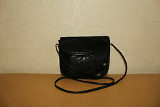 Black Leather PARLUX Magnetic Snap Shoulder Bag Messenger & Cross Body Bag Boho