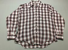 New listing Vintage 50S 60S Rockabilly Button Up Plaid Checkered Light Soft Shirt Mens Large