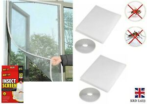 2 x White Mesh Window Curtain Insect Mosquito Screen Net Snap Fly Bug GM0819 UK