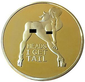 PinUp Girl Gold Mirror Head Tail Lucky Token Challenge Coin US SELLER FAST SHIP
