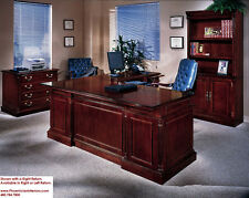 Executive L Shaped Desk with Overhang CHERRY and WALNUT WOOD Office Furniture