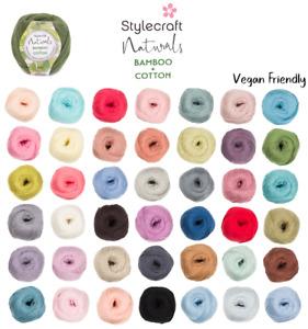 Stylecraft Naturals Bamboo+Cotton 100g DK Vegan Friendly Knitting Crochet Yarn