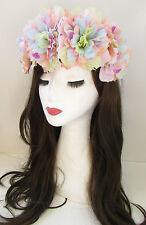 Large Pastel Rose Flower Headband Festival Oversized Hair Crown Elasticated X-46