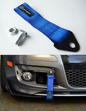 Universal Racing Sport Tow Hook Strap Band High Strength Heavy Duty Loop Blue -