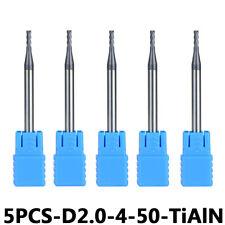 5Pcs Carbide End Mill Bits 4-Flute 2mm Cutting Dia 4mm Shank TiAIN Coat HRC45