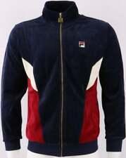 Fila Vintage Men's Lane Velour Track Top Navy/Dark Red - Tracksuit Jacket