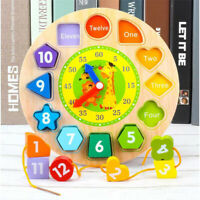 Wooden Blocks 12 Number Clock Toy Baby Colorful Puzzle Digital Geometry Clock