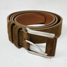 Johnston & Murphy Tan Suede Leather Double Loop Belt Silver Hardware Mens Sz 40