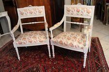 Paire de fauteuils de style Louis XVI assise tissu floral Marie-Antoinette