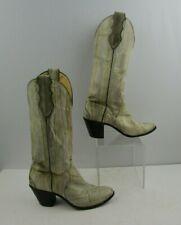 Ladies Justin Cream Eel Skin Round Toe Western Boots Size: 6.5 B