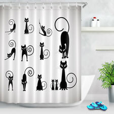 72X72'' Funny Cat Black and White Shower Curtain Waterproof Fabric Bath Curtains