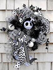 "Nightmare Before Christmas Wreath for The Door 20"" Jack Skellington Black White"