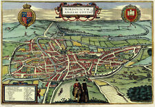 Old Map of Norwich in 1581, plan by Georg Braun - repro, vintage, historical